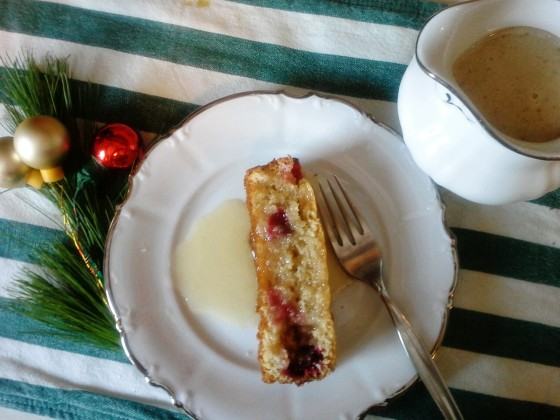 cranberry cake and butter sauce--a lovely welcome to a New Year