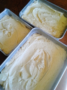 three cake layers ready for baking
