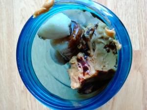 frozen bananas, pbutter, choc sauce, milk--yum!