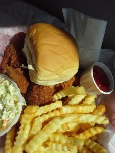 Chicken basket, fries, cole slaw. The butterscotch malt? Already gone!