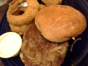 bison burger with homemade onion rings