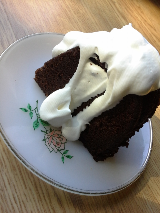 because even a piece of over-the-top boozy chocolate cake needs mounds of whipped cream