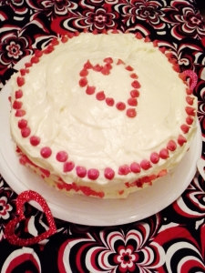 OK, I did make this cake for Valentine's Day. Inspiration and recipe found here.