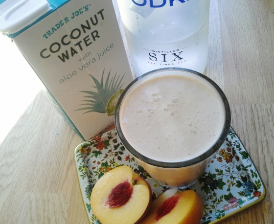 Blend together: 1 cup vanilla ice cream, 1/2 cup coconut water, 1/4 cup vodka, 1 cut-up peach.